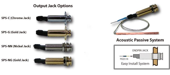 Gold Acoustic Guitar Piezo Pickup Transducer Under Saddle Output End Pin Jack